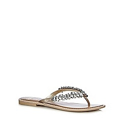Faith - Gold 'Jay' jewel embellished flip flops