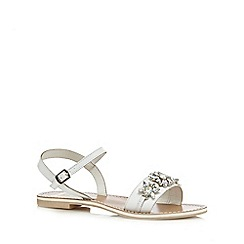 Faith - White 'Justin' floral leather flat sandals