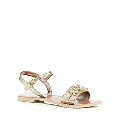 Faith - Gold metallic 'Justin' jewel embellished flat sandals