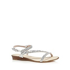 Faith - Silver 'Janet' diamante flat sandals