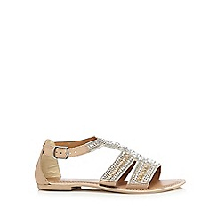 Faith - Silver 'Ja' leather beaded flat sandals