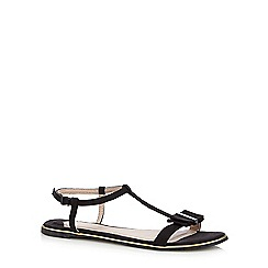 Faith - Black 'Jessie' bow applique sandals