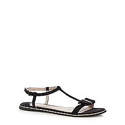 Faith - Black 'Jessie' bow applique sandals