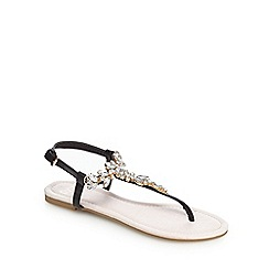 Faith - Black and light pink stone embellished sandals