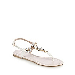 Faith - White and light pink stone embellished sandals