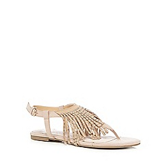 Faith - Light pink suede blend fringed sandals
