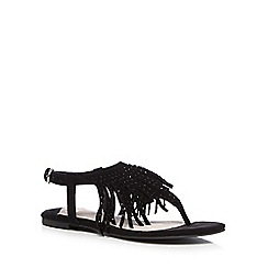 Faith - Black suede blend fringed sandals