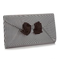 Faith - Black striped envelope flapover front clutch bag