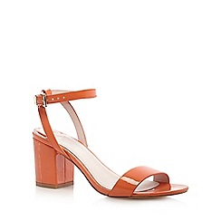 Faith - Orange patent 'Drake' mid heel sandals