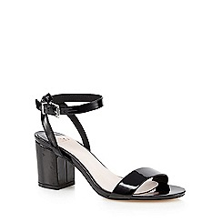 Faith - Black patent 'Drake' mid heel sandals