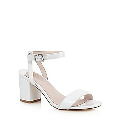 Faith - White patent 'Drake' mid heel sandals