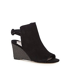 Faith - Black 'Destiny' suede high wedge shoe boots