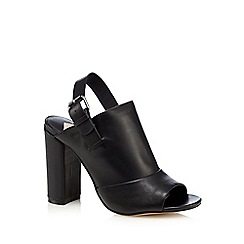 Faith - Black leather 'Dre' high block heel mules