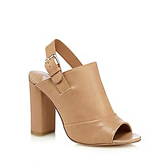 Faith - Camel leather 'Dre' high block heel mules