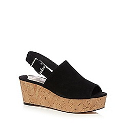 Faith - Black 'Damage' low wedge sandals