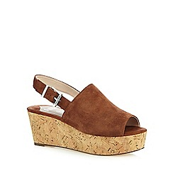 Faith - Tan 'Damage' low wedge sandals