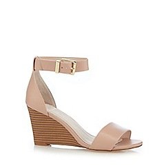 Faith - Light pink leather high wedge sandals