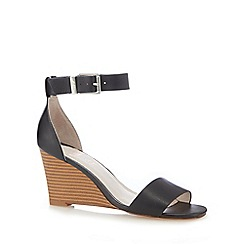 Faith - Black leather high wedge sandals
