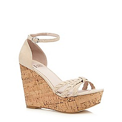 Faith - Cream 'Dotty' wedge heeled sandals
