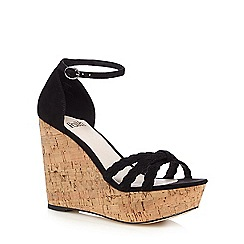 Faith - Black 'Dotty' wedge heeled sandals