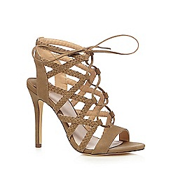 Faith - Khaki 'D'angelo' plaited cut-out high heeled sandals