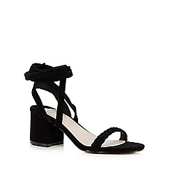 Faith - Black 'Dela' suedette mid heel sandals