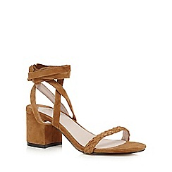Faith - Tan 'Dela' suedette mid heel sandals