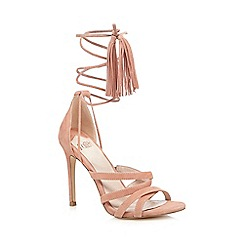 Faith - Pink 'Daft' suede ankle lace up high sandals