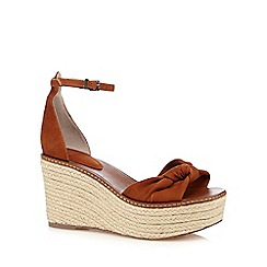 Faith - Tan leather 'Dubz' high wedge sandals