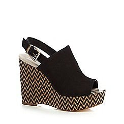 Faith - Black 'Dream' high wedge sandals