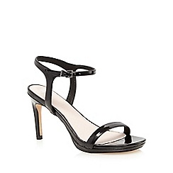 Faith - Black patent 'Dolly' high heel wide fit ankle strap sandals