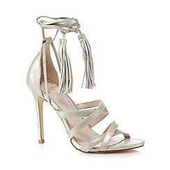 Faith - Gold 'Daft' tasselled lace up high sandals