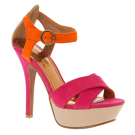 Call It Spring - Dark pink colour block platform sandals