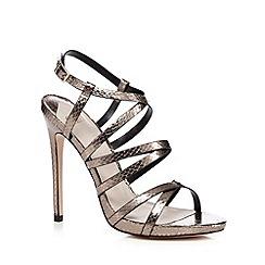 Faith - Metallic snakeskin effect 'Leo' high stiletto heel ankle strap sandals