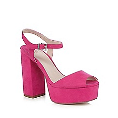Faith - Pink 'Lauper' suedette high platform sandals