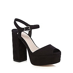 Faith - Black 'Lauper' suedette high platform sandals