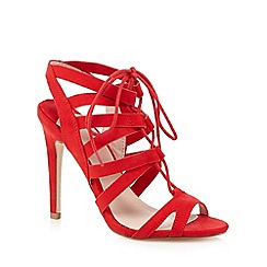 Faith - Red lace cutout heels