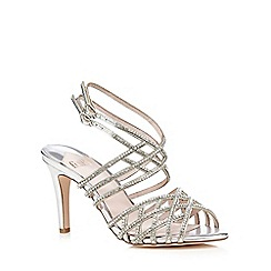 Faith - Silver 'Labyrinth' diamante criss cross high sandals