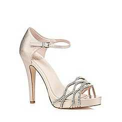 Faith - Light pink 'Lethal' textured diamante high sandals