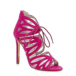 Faith - Light pink 'Lana' cut-out mesh lace up sandals