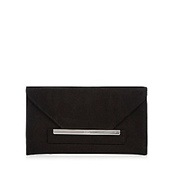 Faith - Black 'P-Lenny' suedette envelope clutch bag