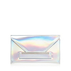 Faith - Silver 'P-Lenny' iridescent envelope clutch bag