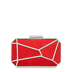 Faith - Red metal suedette clutch bag