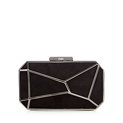 Faith - Black metal suedette clutch bag