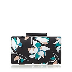 Faith - Black floral clutch bag