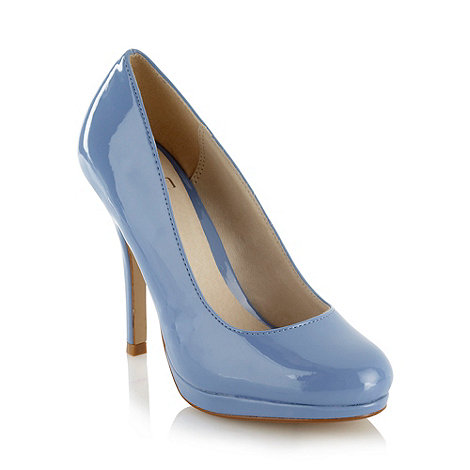 Faith - Pale blue patent high heel court shoes