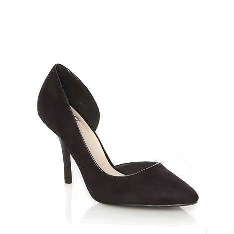 Faith - Black asymmetric high heeled court shoes
