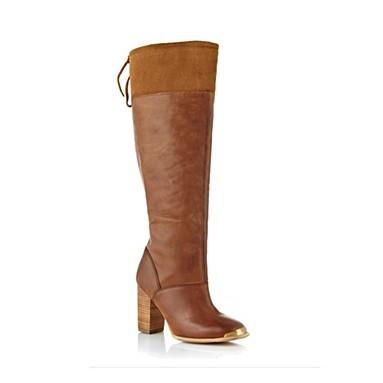 Tan leather capped toed high leg boots - Faith