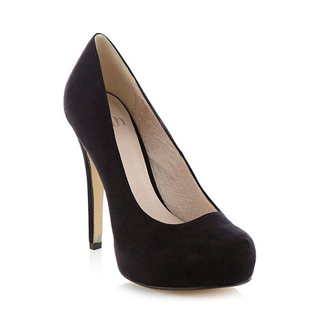 Faith - Black microfibre high heeled platform court shoes