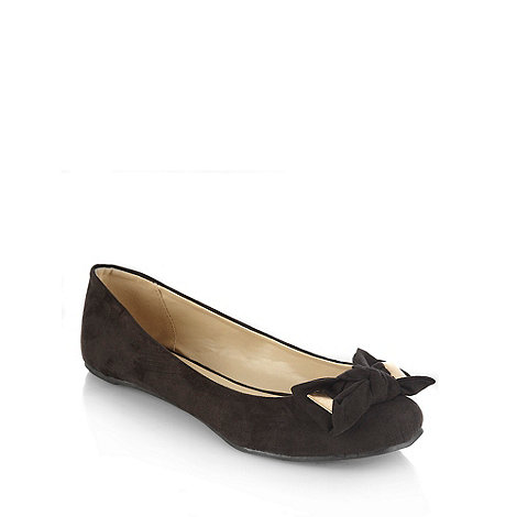 Faith - Black microfibre square toe pumps with bow trim
